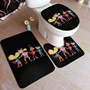 Zomsun Hey Arnold Bathroom Rug Mats Set 3 Piece Anti-Skid Pads Bath Mat + Contour + Toilet Lid Cover Bathroom Antiskid Pad