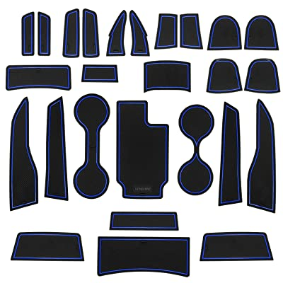 SENSHINE Cup Liner Fitted Liners for for Chevy Colorado and GMC Canyon 2020 2020 2020 2020 2016 2015 Center Console Liner Insert Accessories Kit Custom Fit(Blue Trim, Crew Cab): Automotive [5Bkhe1407169]