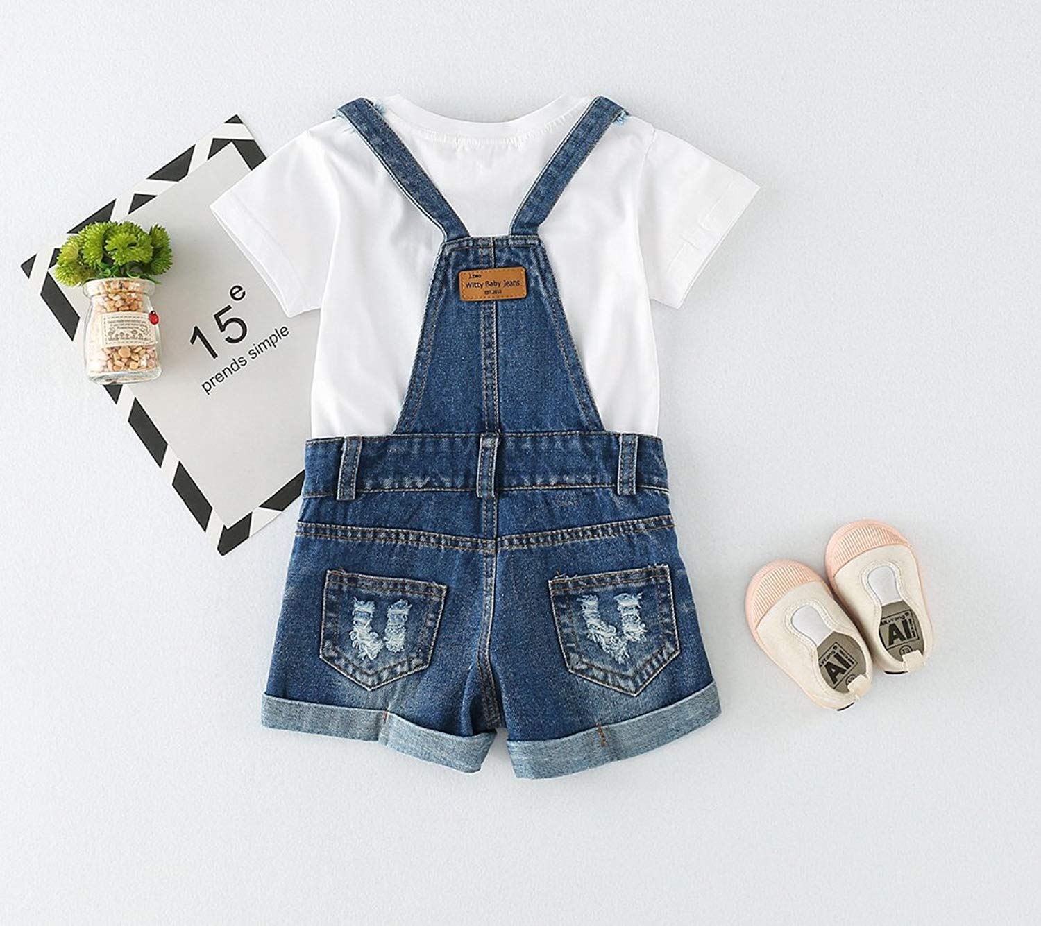 9535e0934d77 ... Sitmptol Big Girls Kid Denim Jumpsuit Boyfriend Jeans Denim Romper  Shortalls Bib Overalls 18Sep09-11 ...