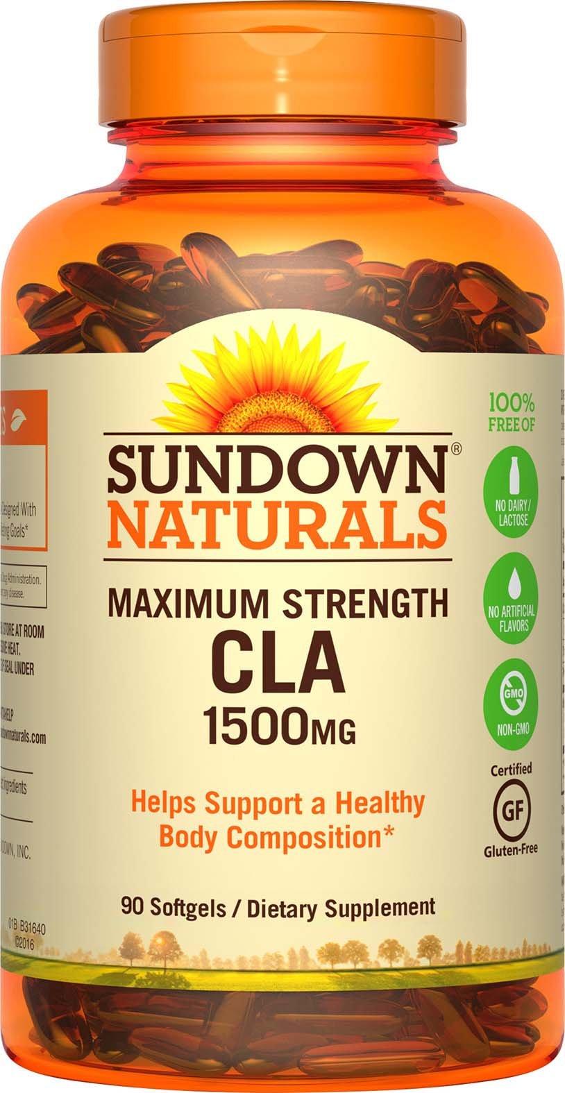 Sundown Naturals Maximum Strength CLA 1500 mg Softgels - 90 ct, Pack of 2  - Packaging May Vary by Sundown Naturals