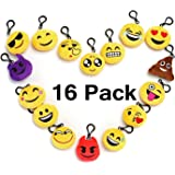 Emoji Mini Plush Pillows for Party Decorations , Sets of 16 Keychain Cushion Goody Bags Fillers Toys, Kids Party Supplies Favors, Novelty Toys Pinata Fillers for School Rewards Accessories.