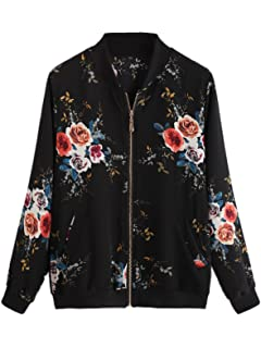 90329b853 Amazon.com: BB&KK Women's Floral Bomber Jacket Light-Weight with ...