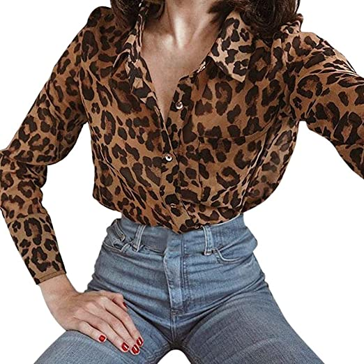 d9c4a0bf02c Winter Clearance Women Daily Casual Lightweight Leopard Print Long Sleeve  Shirt Top Blouse at Amazon Women's Clothing store: