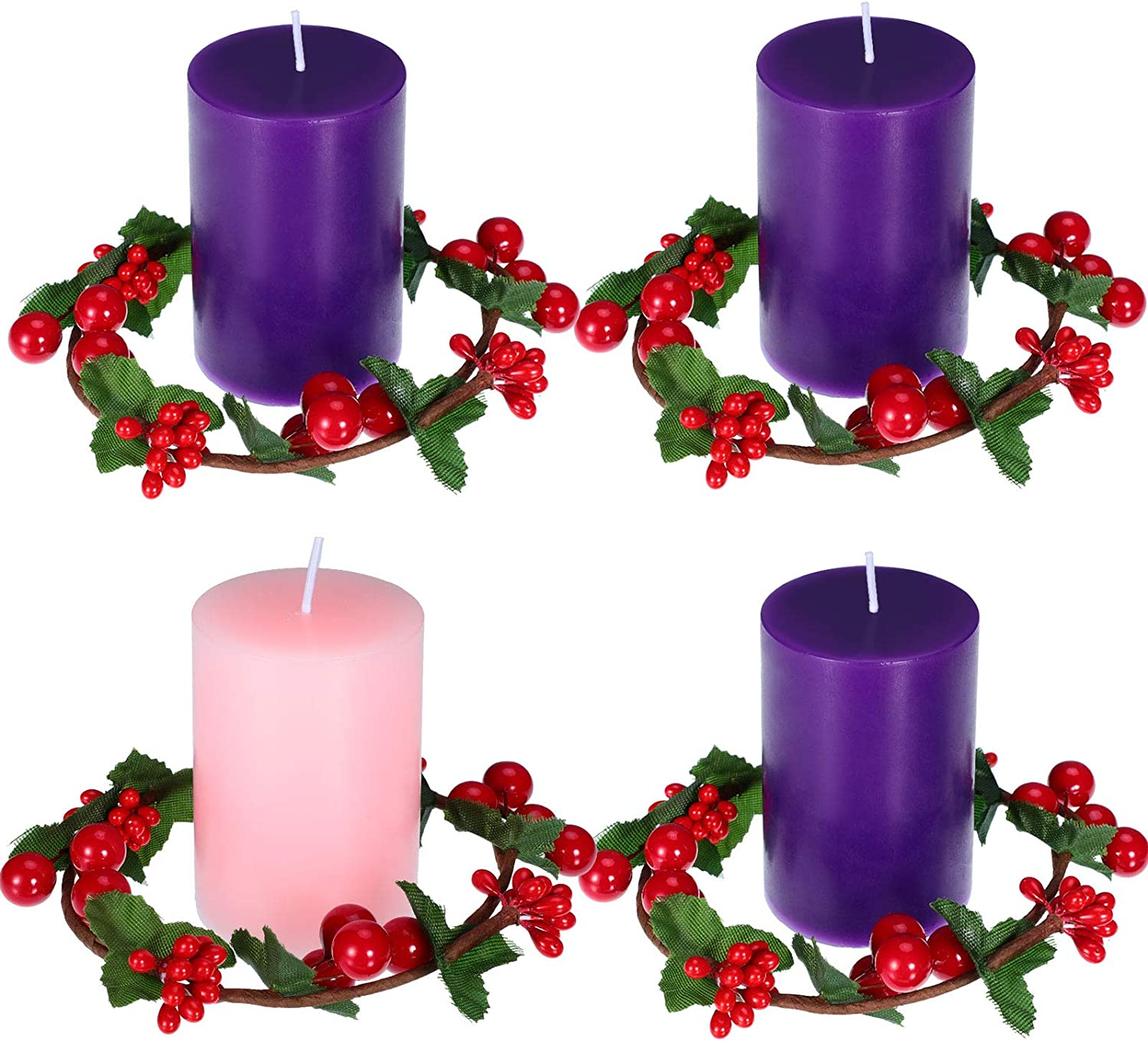 Nuanchu 4 Pieces Christmas Advent Pillar Candles Dripless Scented Round Votive Pillar Candles, 4 Pieces Berry Candles Holders Wreath Christmas Red Candle Berry Rings for Christmas Home, Wedding Decor