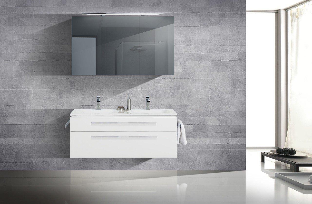 Badmöbel Set mit Spiegelschrank und Doppelwaschtisch 120 cm