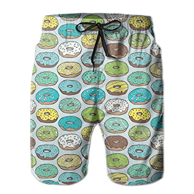 bc3a730fce Mens Quick Dry Swim Trunks, Polyester Donuts in Blue Pattern Swimsuit with  Pockets