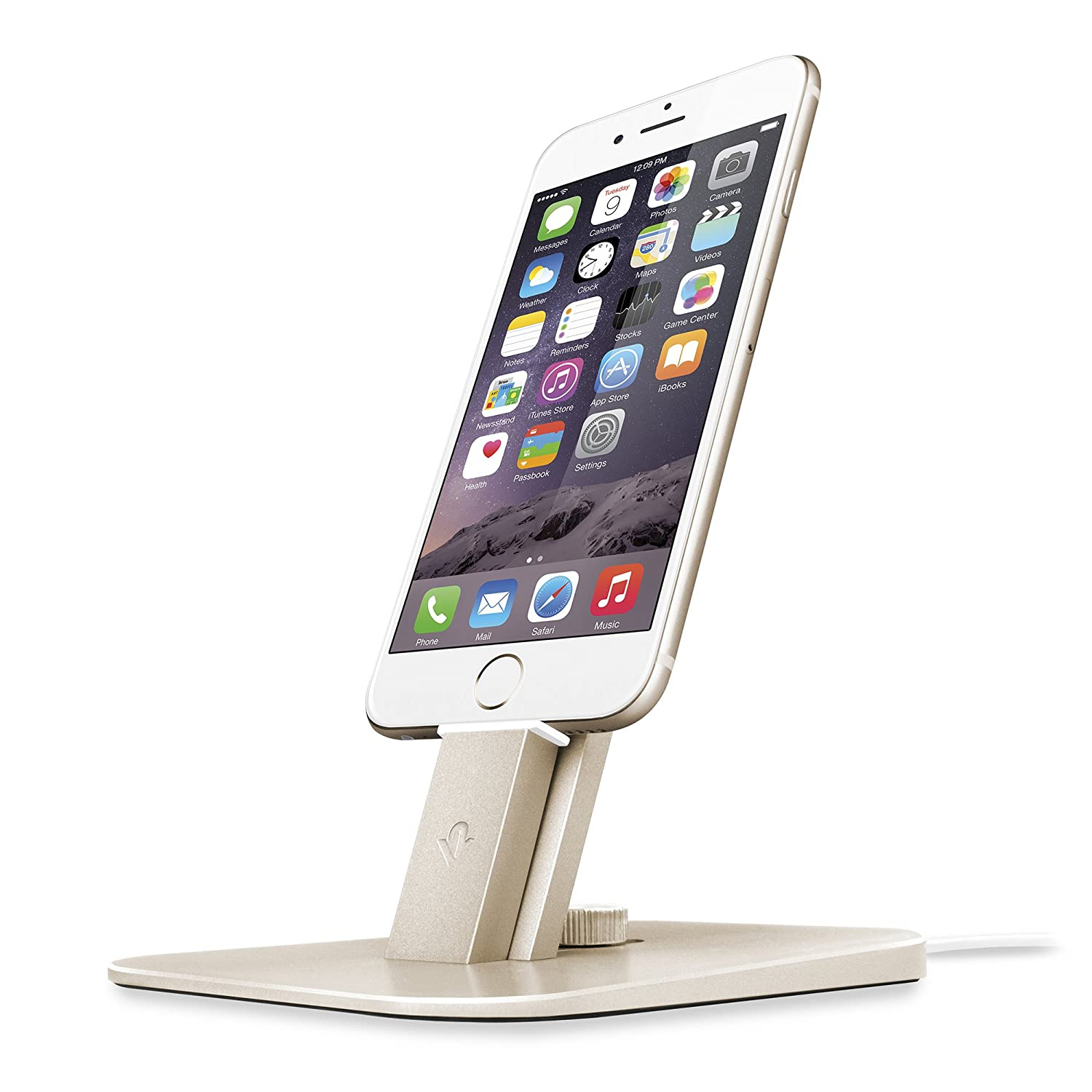 Twelve South HiRise Deluxe for iPhone/iPad/Smartphone, gold | Adjustable charging stand w/Lightning + MicroUSB cables 12-1436