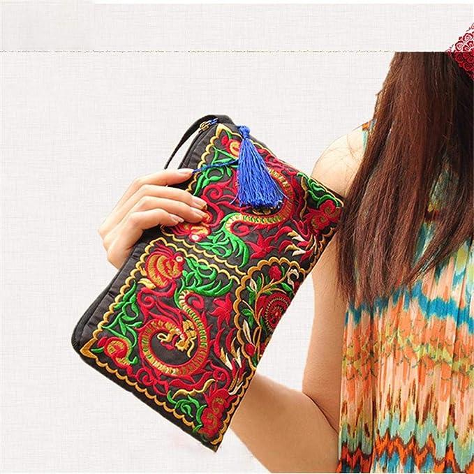 Bolso de las mujeres, señora bolso monedero mujer hecho a mano nación Retro bordado bolsa carteras Zip pulseras étnicas estilo bordado bolso de ...