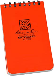 """product image for Rite in the Rain Weatherproof Top-Spiral Notebook, 3"""" x 5"""", Orange Cover, Universal Pattern (No. OR35)"""
