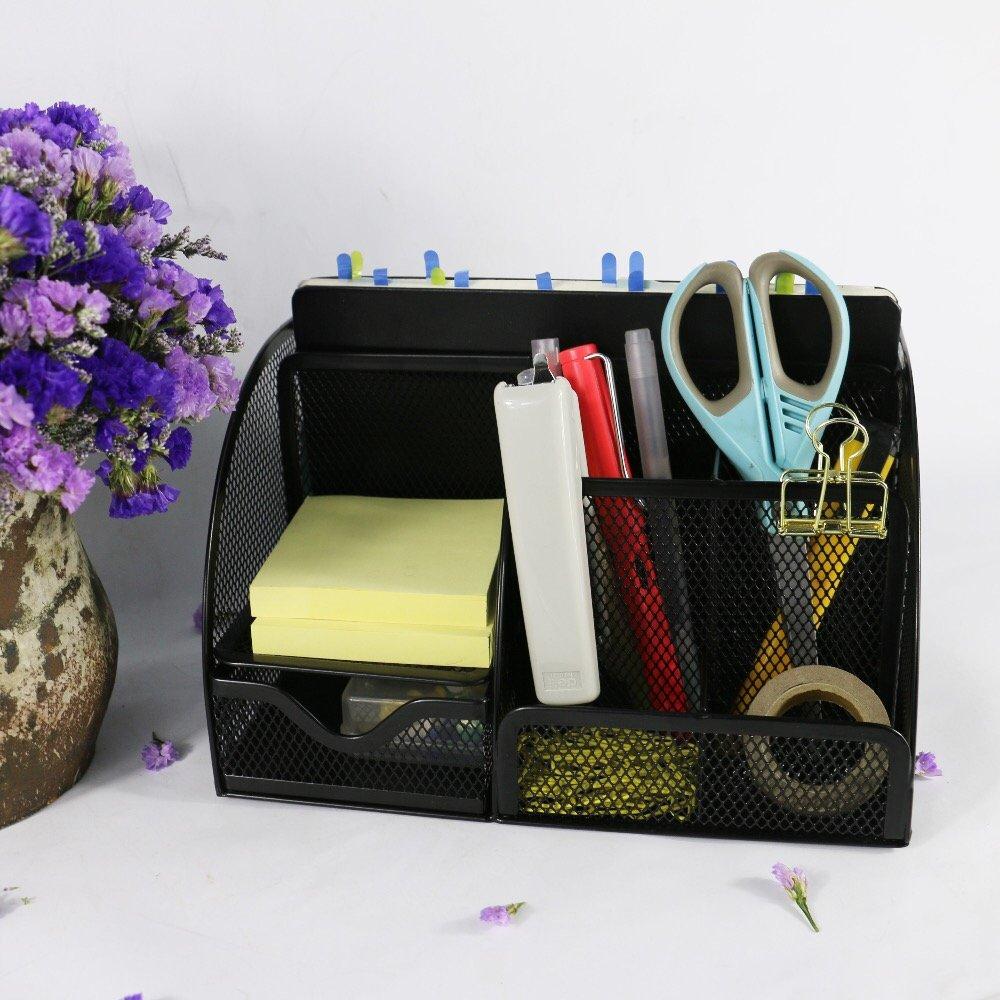 Mesh Office Supplies Desk Organizer Caddy, 6-Compartments, Black, Difaro DO001