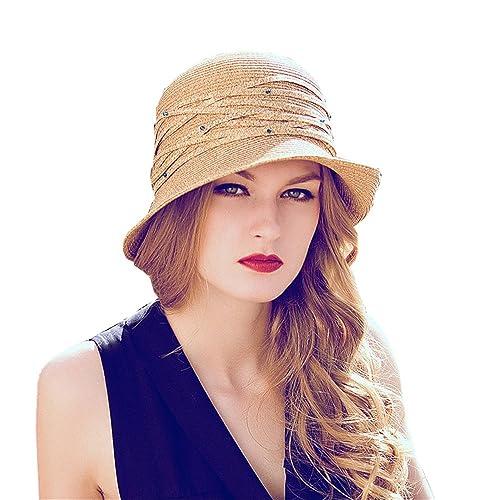 Donne Ragazza Moda Estate Spiaggia Rhinestone Decoration Pieghevole Tesa Larga Cappello Da Sole Di P...