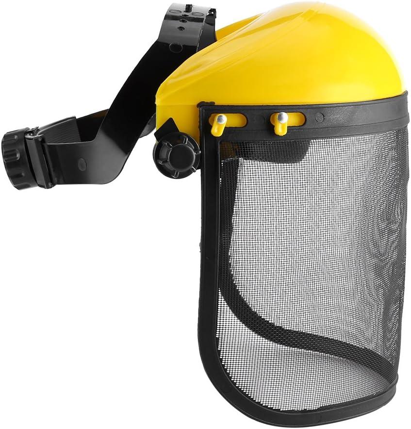 Haokaini Casco de Seguridad Ajustable Visera de Malla de Cara Completa para Motosierra Jardinería Tala Desbrozadora Protección Forestal