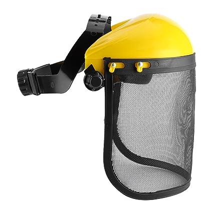 Casco de seguridad de protección de escudo de cara completa con visera de malla ajustable para
