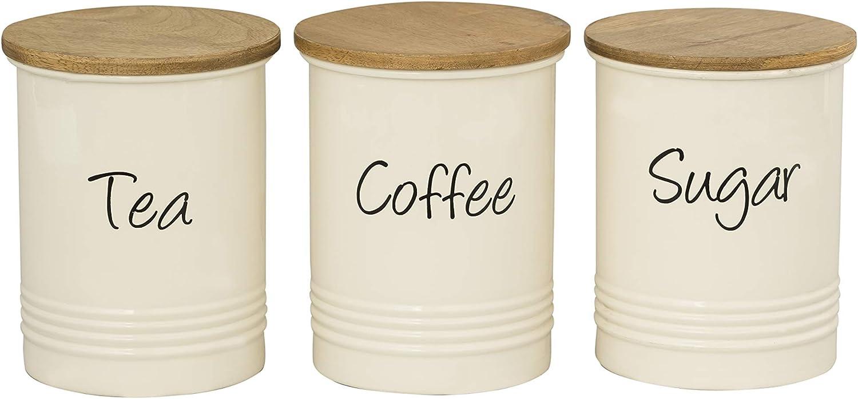 Lot de 3 Stockage Boîtes à thé café sucre pots boîtes avec bambou couvercle-Noir