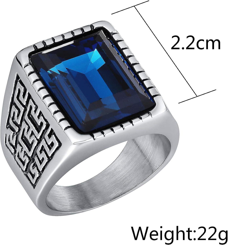 Herren Ring Bandring Edelstahl Silber Schwarz Weisser Zirkonia Kristall