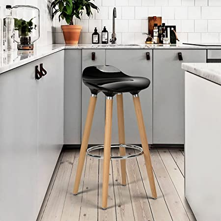 FurnitureR Black Kitchen Breakfast Bar Stools Wooden Legs Stool Chairs, Set  Of 2