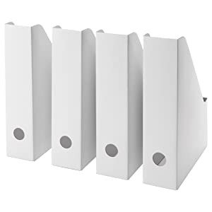 Ikea White Magazine FLUNS File Holder Document Organizer Paper Book Storage Office Desk Organizer By Lizzy Outlet (Pack Of 4)