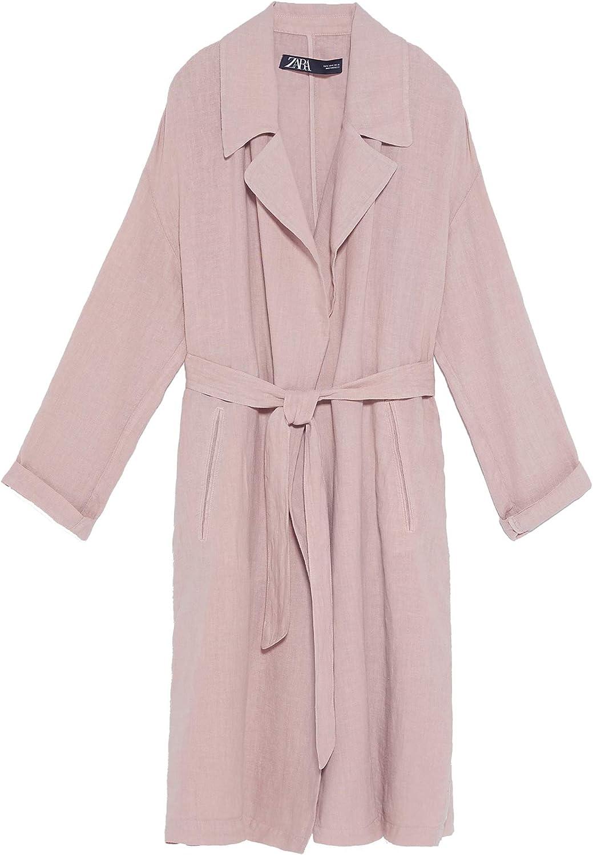 Zara 2703/500 - Trench de Lino para Mujer Rosa XS: Amazon.es ...