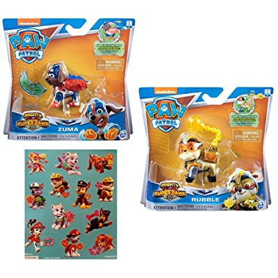 Paw Patrol Mighty Pups Super Paws Zuma and Rubble Figures with One Sheet of 12 Stickers Bundle (3 Items): Toys & Games