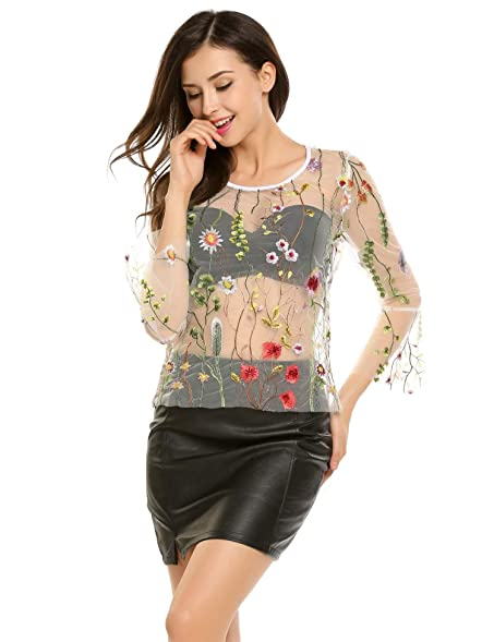 b7250df7bda Unibelle Women s Sexy Sheer Shirts Floral Lace Mesh Blouse Cover-up  Tops