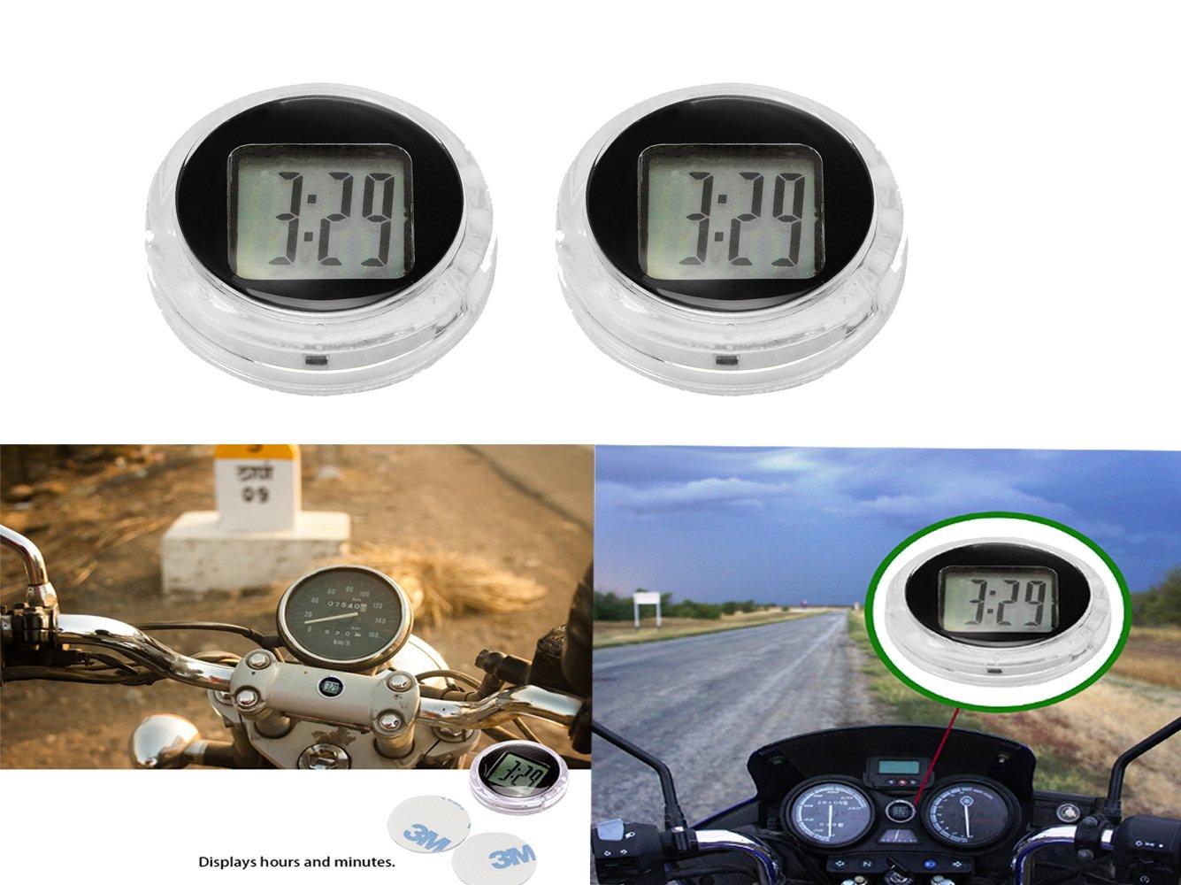 Horloge de guidon de motocyclette, Konesky Stick-On Montre universelle de moto Horloge numé rique é tanche Yamaha Kawasaki Honda Suzuki Harley Davidson (1 pcs)