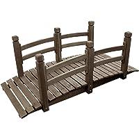 Pont de jardin extérieur décoration bassin fontaine bois passerell étang 150 cm