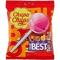 Chupa Chups Lecca Lecca The Best Of, Lollipop Frutti Assortiti Gusto Cola, Fragola, Arancia e Panna Fragola, Busta da 10 Lollipop Monopezzi