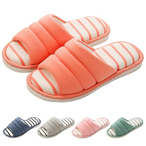 e4061f54c56c shevalues Women s Memory Foam Slippers Cotton SPA Slippers Winter Warm Open  Toe House Slippers Orange 25