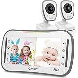 "[HD] Video Baby Monitor, AXVUE 720P 5"" HD Display, IPS Screen, 2 HD Cams, 12-Hours Battery Life, 1000ft Range, 2-Way Communic"