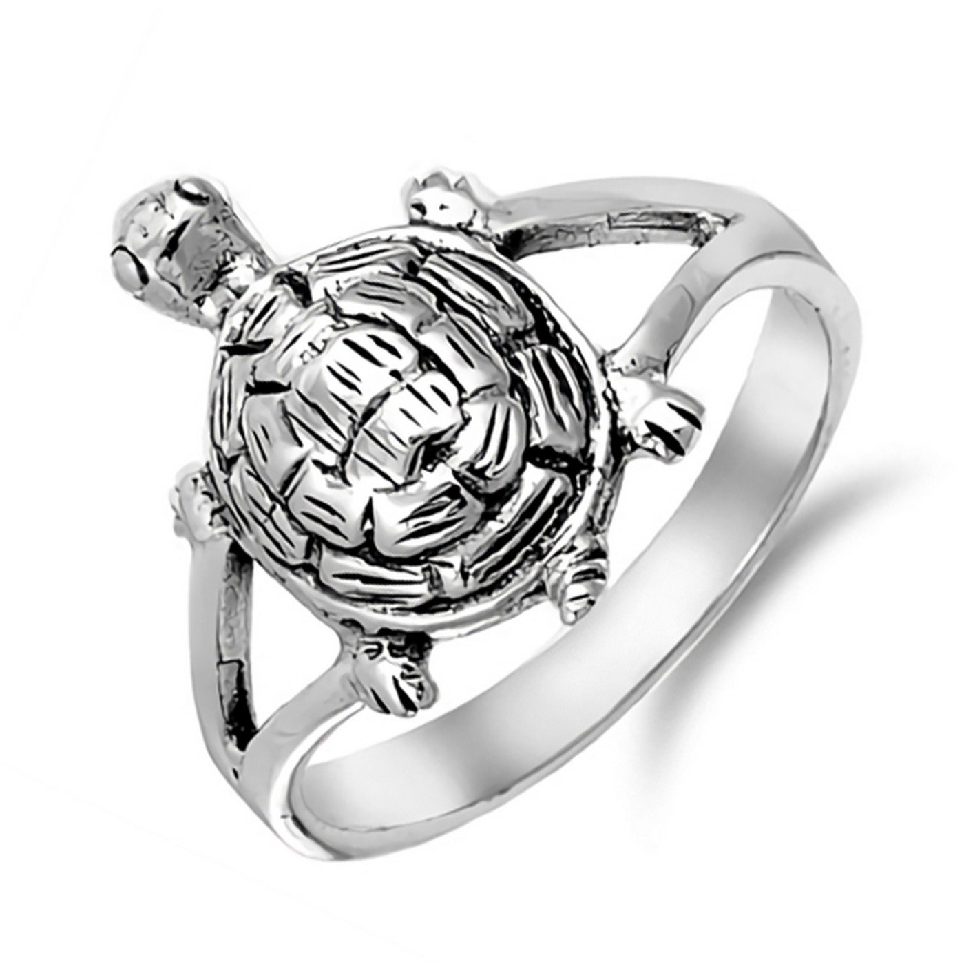 7mm Oxidized Unique Turtle Design Womens Ring 925 Sterling Silver Sizes 4-10