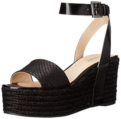 Super sale Sandals Nine West Ertha Women Black Leather US Online