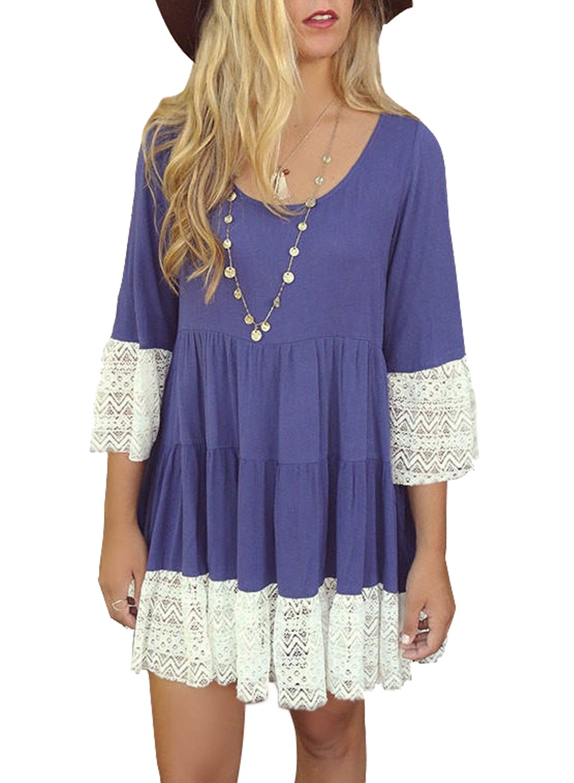 Women's Casual Loose T Shirt Dress Lace Patchwork Pleated Swing A line Dresses BK268 (L, Blue)
