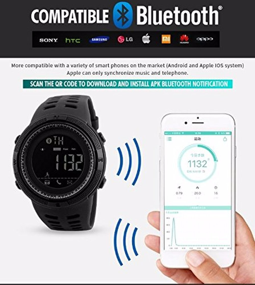 Amazon.com: Men Outdoor Sport Smart Watch Fashion Digital Watches Fitness Tracker Bluetooth ios 4.0 Android Waterproof Wristwatch: Cell Phones & Accessories