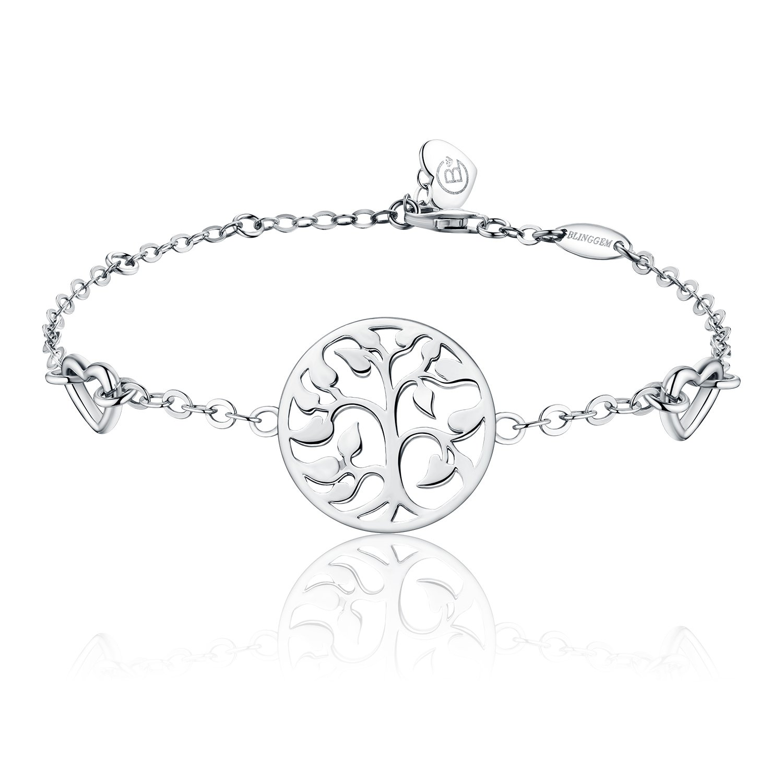 BlingGem Women White Gold plated 925 Sterling Silver Tree of Life Bracelet Chain Adjustable PWR19