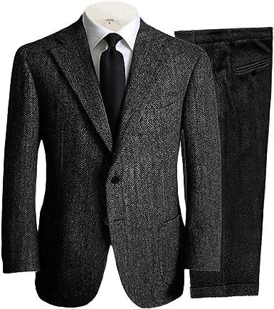 Amazon Com Traje De 2 Piezas Para Hombre Casual De Lana De Tweed Ajustado Para Boda Baile De Graduación Esmoquin Blazer Pantalón Clothing
