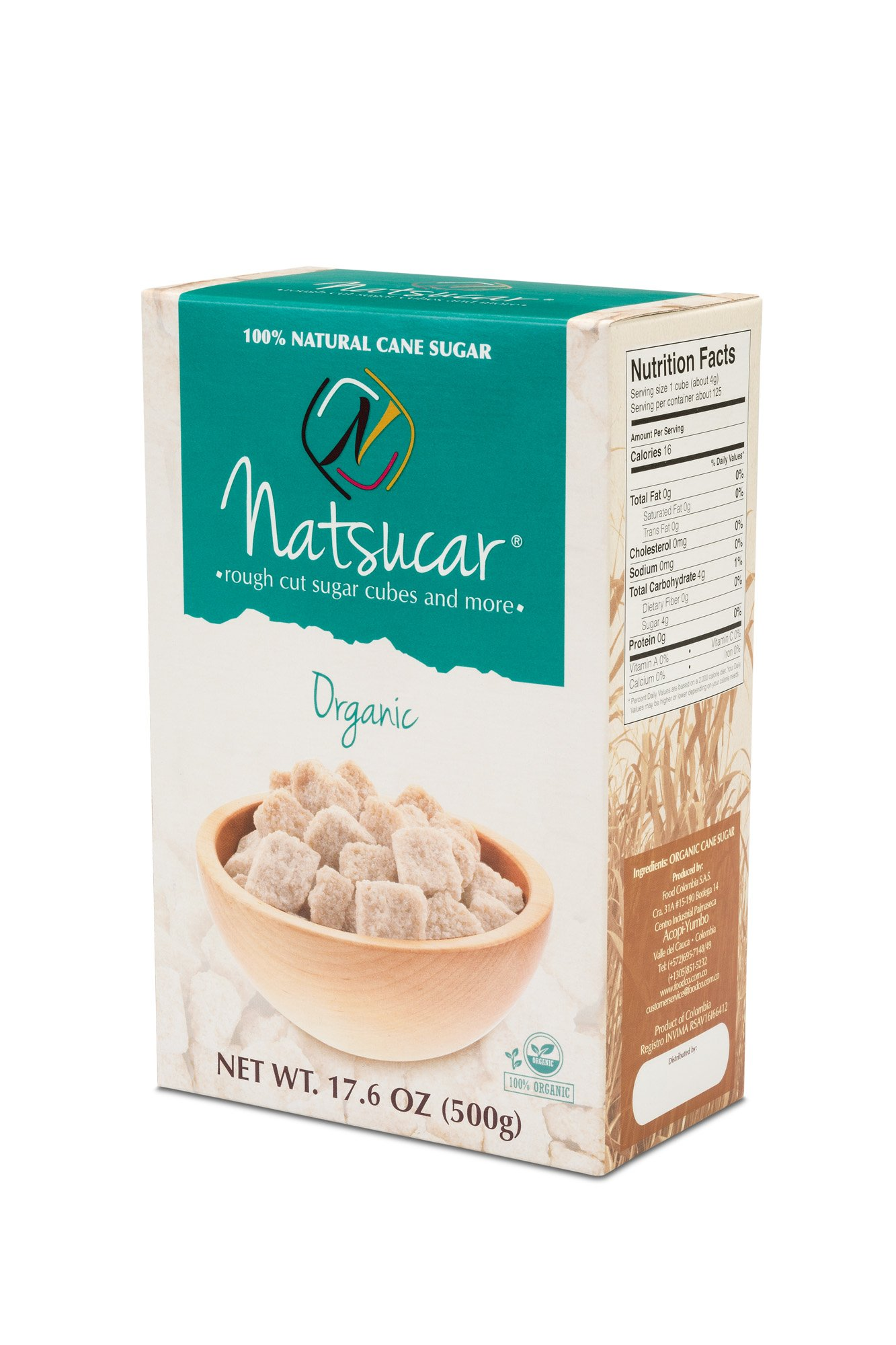 Natsucar ORGANIC Rough Cut Sugar Cubes (Pack of 2 - 1000g)