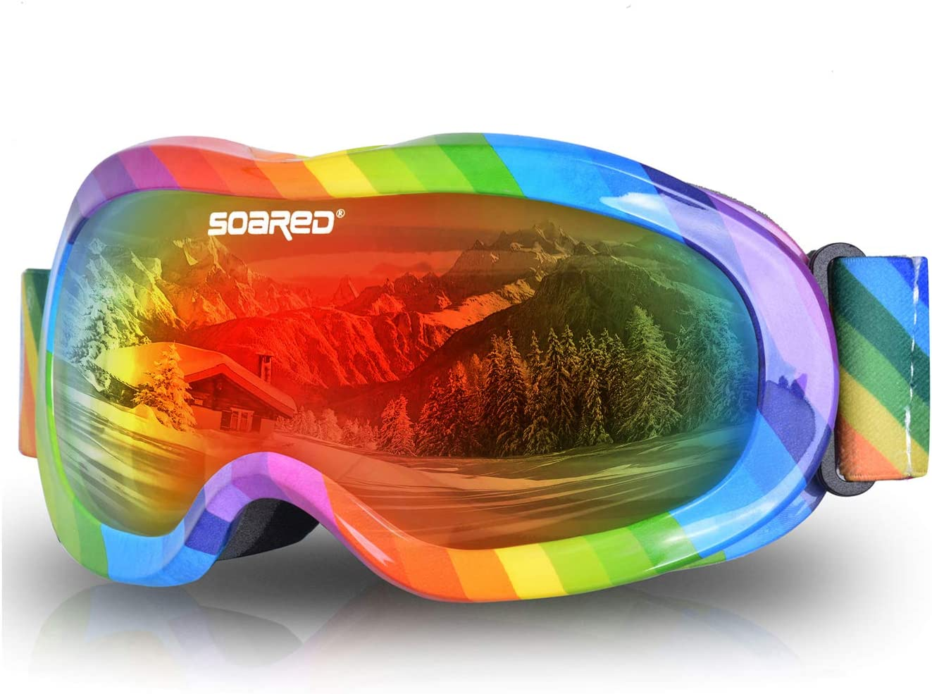 Soared Kids Ski Goggles Winter Snow Snowboard Glasses Dual Lens UV Protection Anti Fog OTG Skating Goggles for Youth Boys Girls