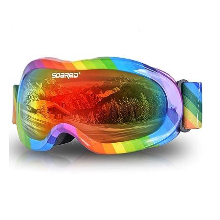 Soared Kids Ski Goggles Winter Snow Snowboard Glasses Dual Lens UV Protection Anti Fog OTG Skating Goggles for Youth Boys Girls