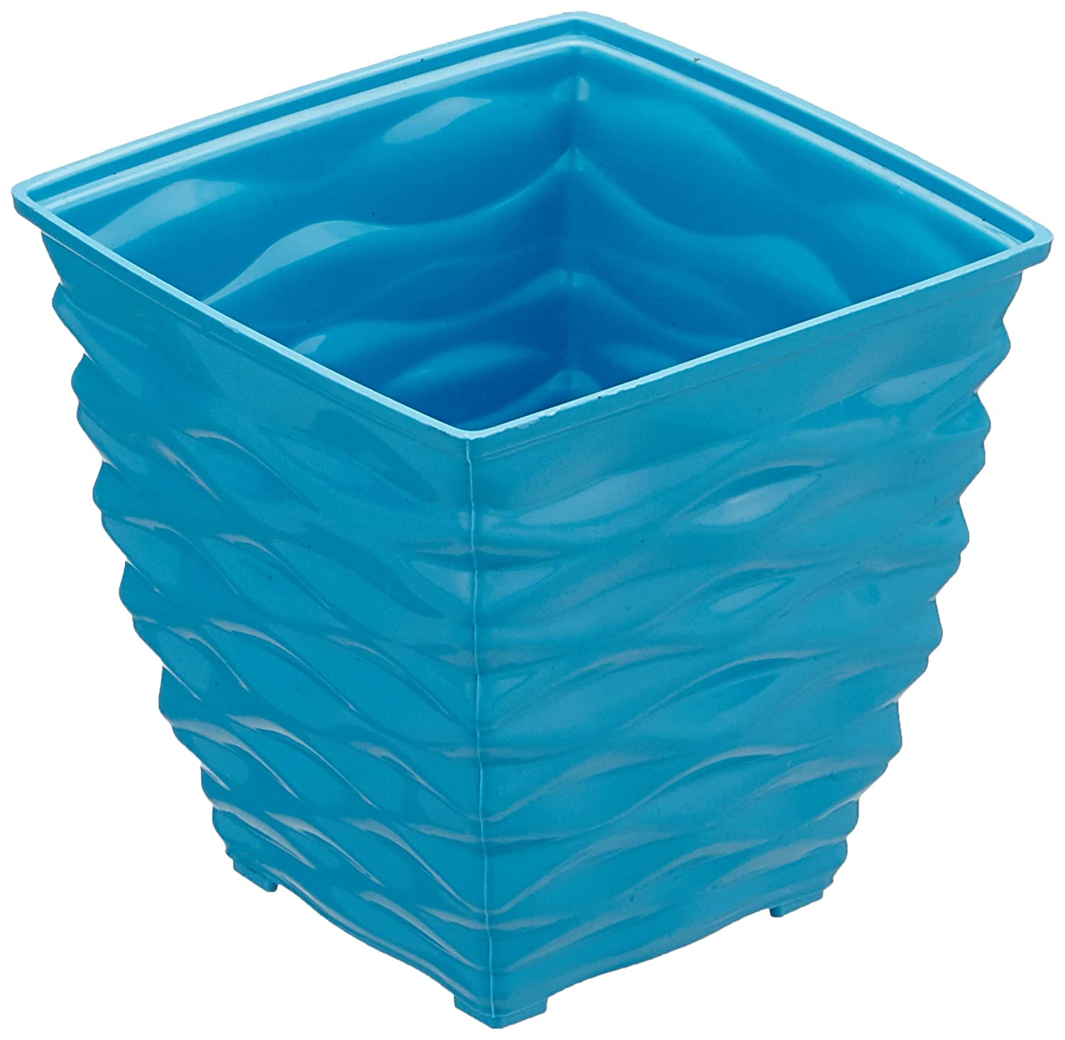 Plastic Square Planter Set (Small, Blue, Pack of 6)