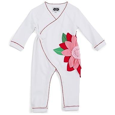mud pie christmas baby girl poinsettia kimono sleeper one piece 3 6 months - Mud Pie Christmas
