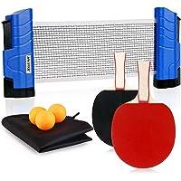 XGEAR Juego de Ping Pong con 2 Raquetas + 3 Bolas Pelotas Tenis de Mesa + 1 Red Retráctil + 1 Bolsa Conjunto de Pingpong…