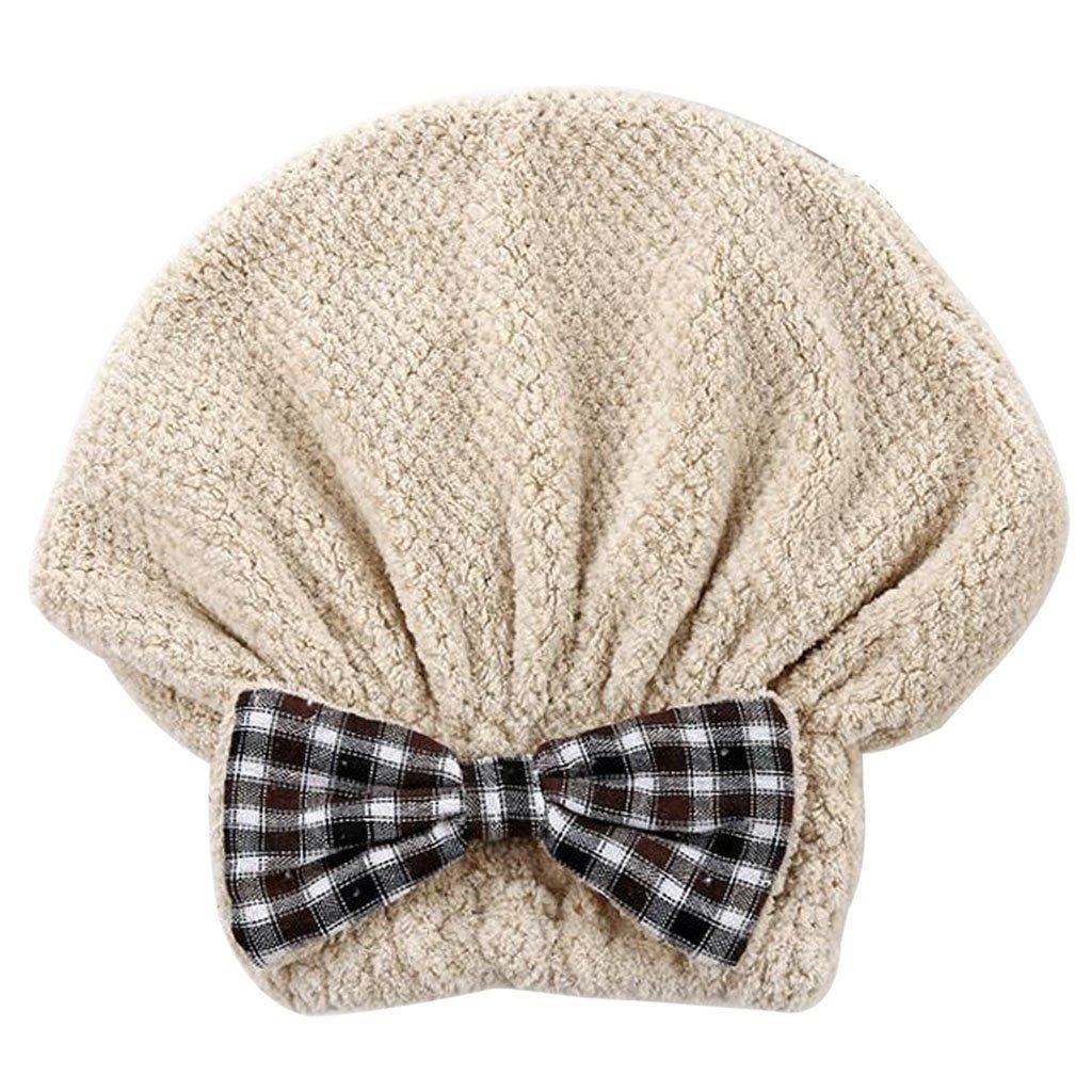 Haorw Niedliches Plaid Bowknot Haartrockentuch Kopfhandtuch Kopftuch Haarturban Weiche Schnell Trocken Haar Handtuch (Grün)