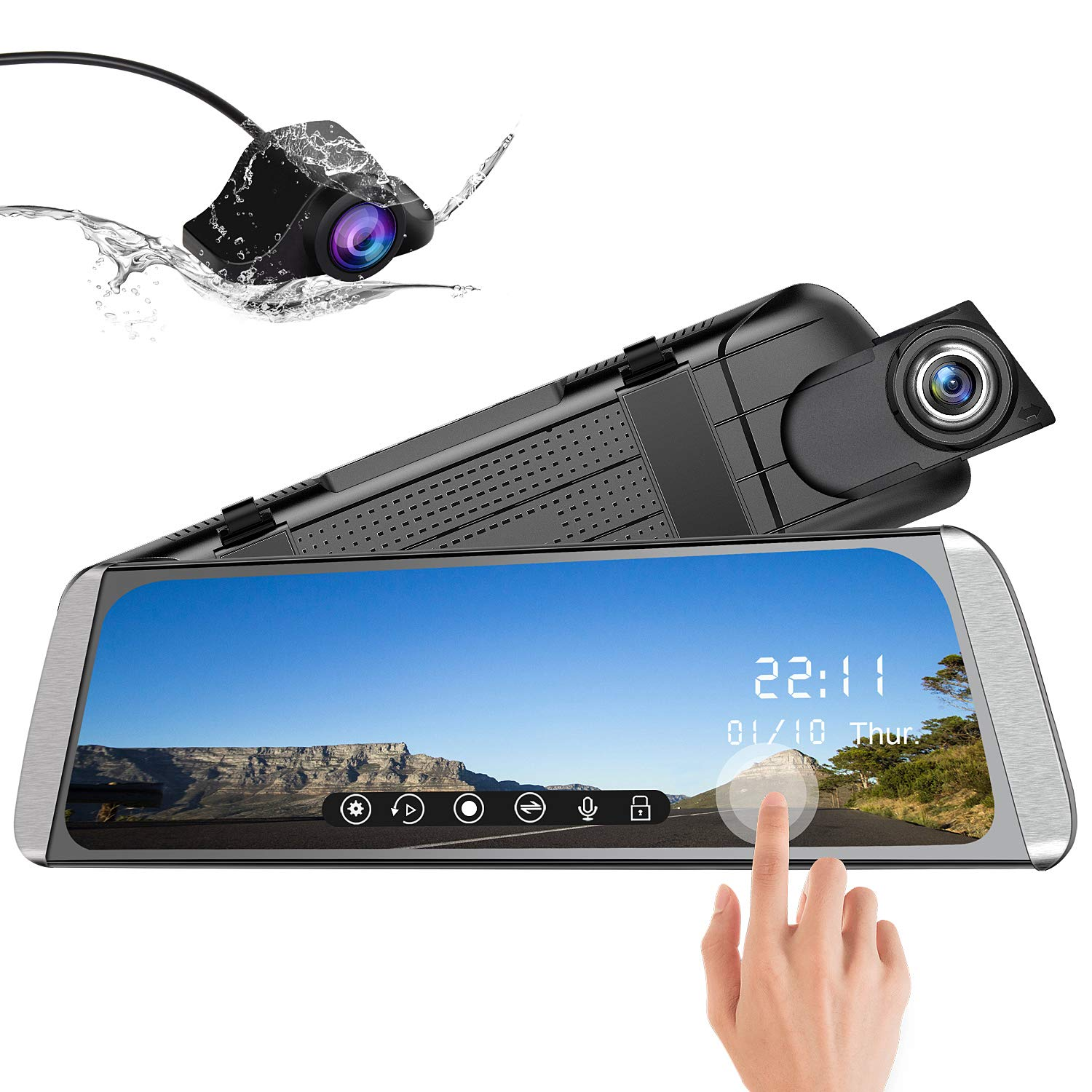 AWESAFE 10 Inch Mirror Dash Cam 1080P Front and Rear Dual Lens,Rear Mirror Camera with 24 Hours Parking Monitor and G Sensor by awesafe