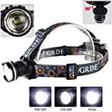 GRDE 900 Lumens Adjustable Wear-Can LED Head Lamp - Black
