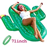 R • HORSE 70in Inflatable Cactus Pool Floats, Large Outdoor Swimming Pool Inflatable Float for Summer Party with FREE Fluorescent Wristband
