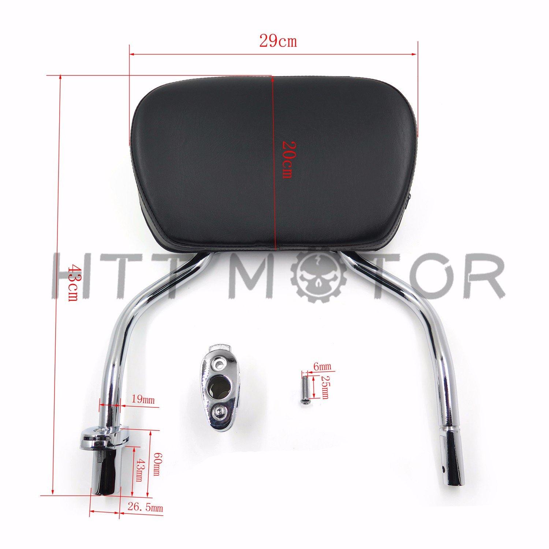 HTTMT Skull Detachable Sissy Bar Pad W/ Backrest For 2015-2017 Harley FLRT FreeWheeler