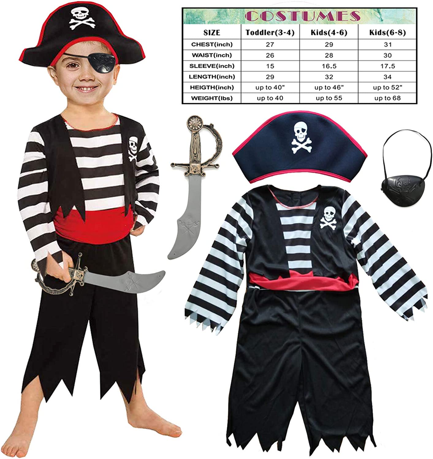 Leadtex Children's Pirate Costume for Toddlers Boys Girls with All in one Pirate Suit,Cutlass,Eyepatch