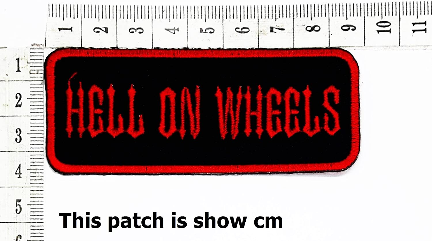 Hell on wheels Funny Words Patch Punk Rock Iron on Patch/Sew On Patch Clothes Bag T-Shirt Jeans Biker Badge Applique Devil Artwork
