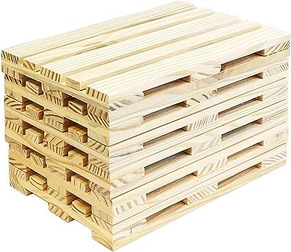 Acan Pack De 6 Bandejas Madera De Mini Palets 24 X 16 X 2 5 Cm Amazon Es Hogar