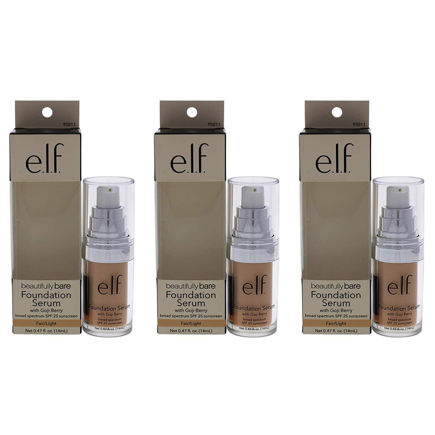 Beautifully Bare Foundation Serum SPF 25 - Fair-light by e.l.f. for Women - 0.47 oz Foundation - (Pack of 3)